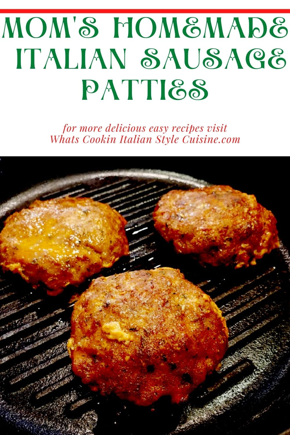 this is a pin of sausage patties homemade in cast iron gridded skillet