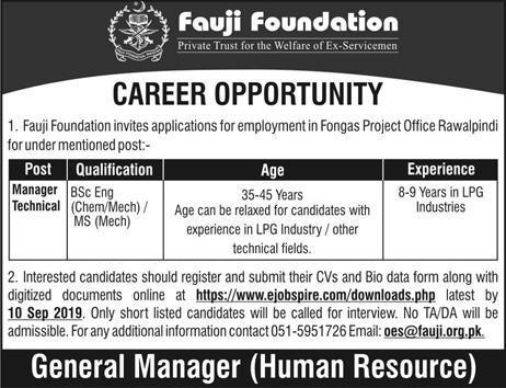 Fauji Foundation Jobs September 2019