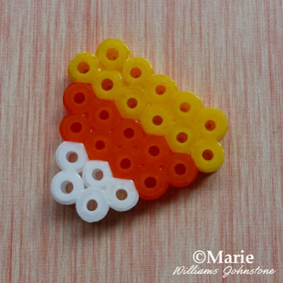 mini perler fused bead candy corn for halloween