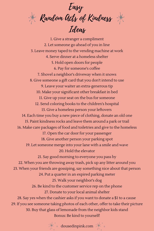 Easy Random Acts of Kindness Ideas