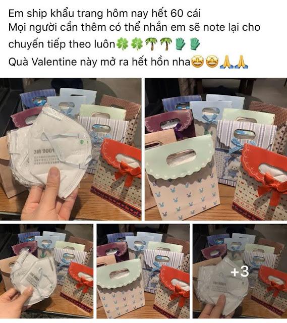 Valentine mùa dịch Corona, nhiều người đổ xô tặng khẩu trang y tế, nước rửa tay