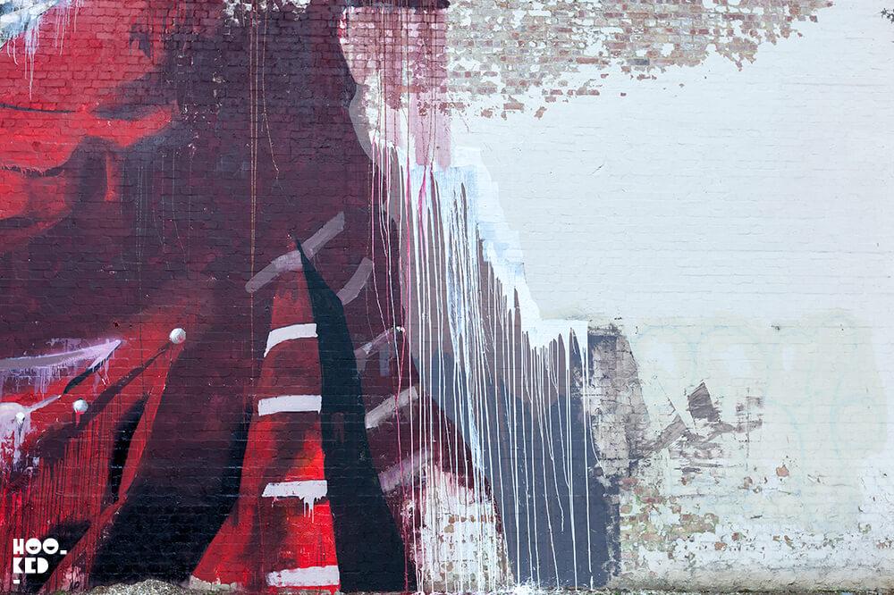 Close-up images of Irish artist Conor Harrington's Walthamstow Street Art Mural