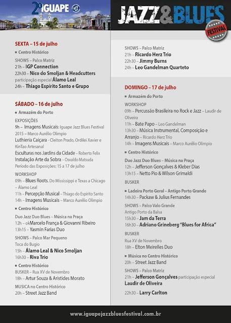 2ª Edição do Iguape Jazz & Blues Festival  entre 15 e 17/07