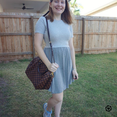 awayfromtheblue Instagram | grey skater dress asos baydoll with louis vuitton speedy bandouliere bag sneakers