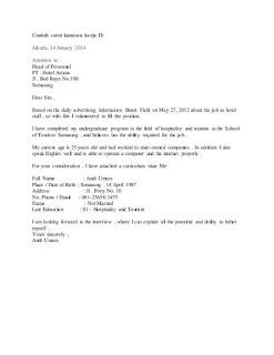 contoh surat lamaran kerja di hotel dalam bahasa inggris