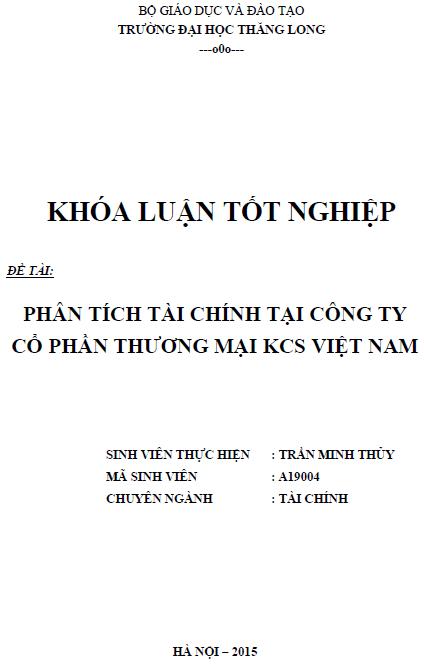 Phân tích tình hình tài chính tại Công ty Cổ phần Thương mại KCS Việt Nam