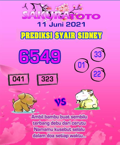 Syair Sakuratoto Sidney Jumat 11 Juni 2021