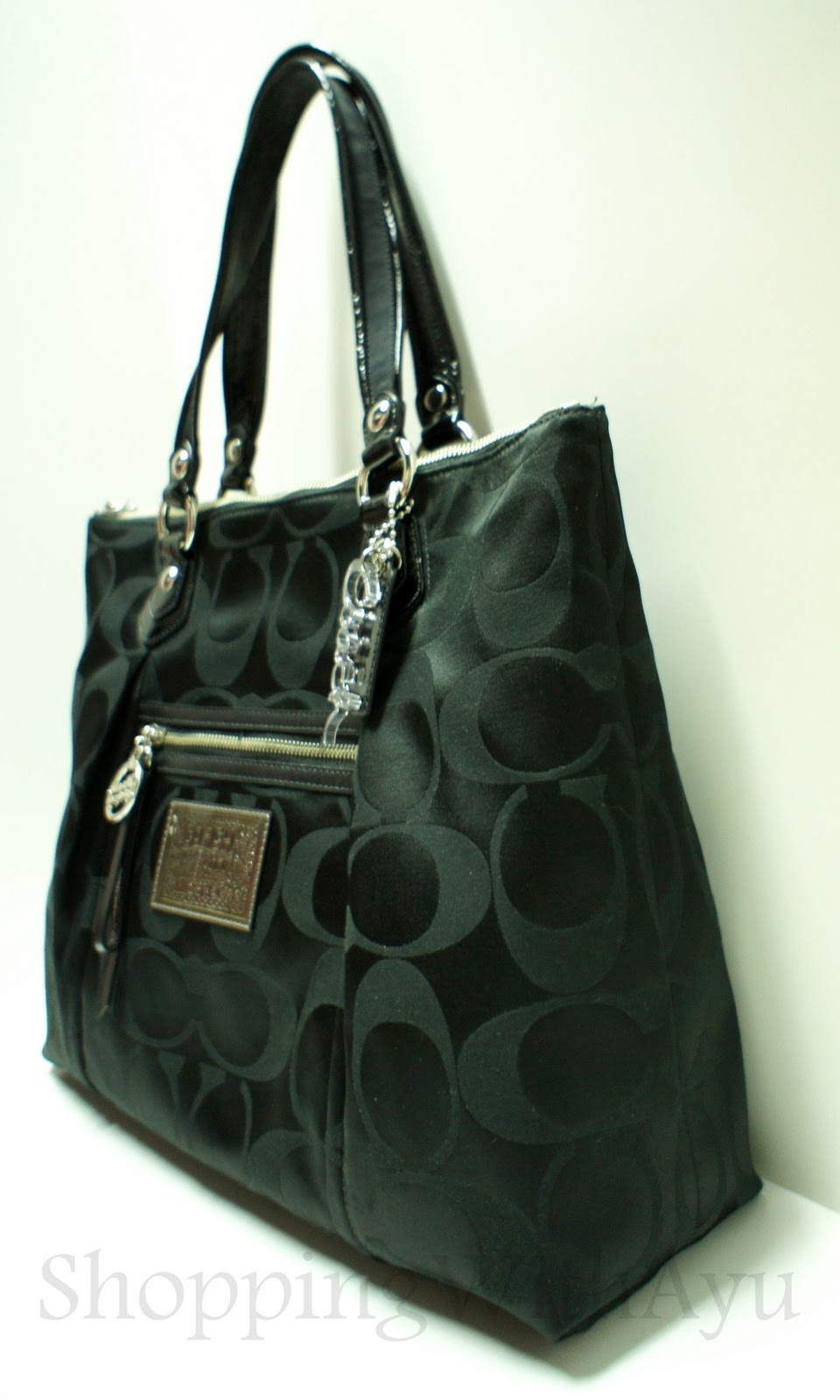 ... coupon coach poppy signature sateen glam tote style 16290 in black  3f747 d058c d3efa754a2cf0