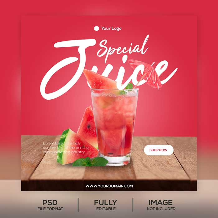 Juice Instagram Post PSD Template