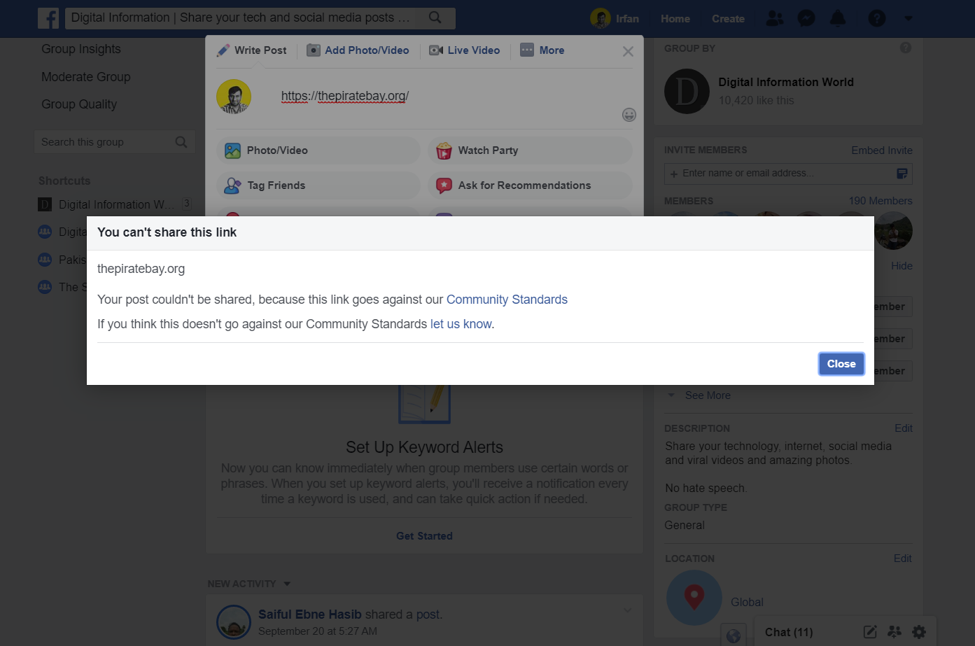 Facebook Is Blocking Major Pirated Sites and their Links