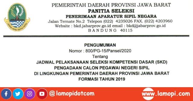 Menindaklanjuti pengumuman hasil seleksi manajemen CPNS Pemprov Jawa Barat nomor  Soal SKB CPNS Hots 2019/2020 :  Ketentuan, Tata Tertib, Jadwal & Lampiran SKD Pemprov Jawa Barat (29 Januari s.d 8 Februari 2020)