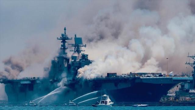 Otro incendio como USS Bonhomme Richard inquieta a Armada de EEUU