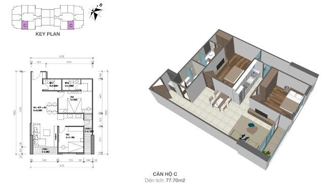 Căn hộ C có diện tích 77m2 với thiết kế 02 phòng ngủ