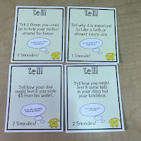 Pics of question cards from the Snoots Toots game.