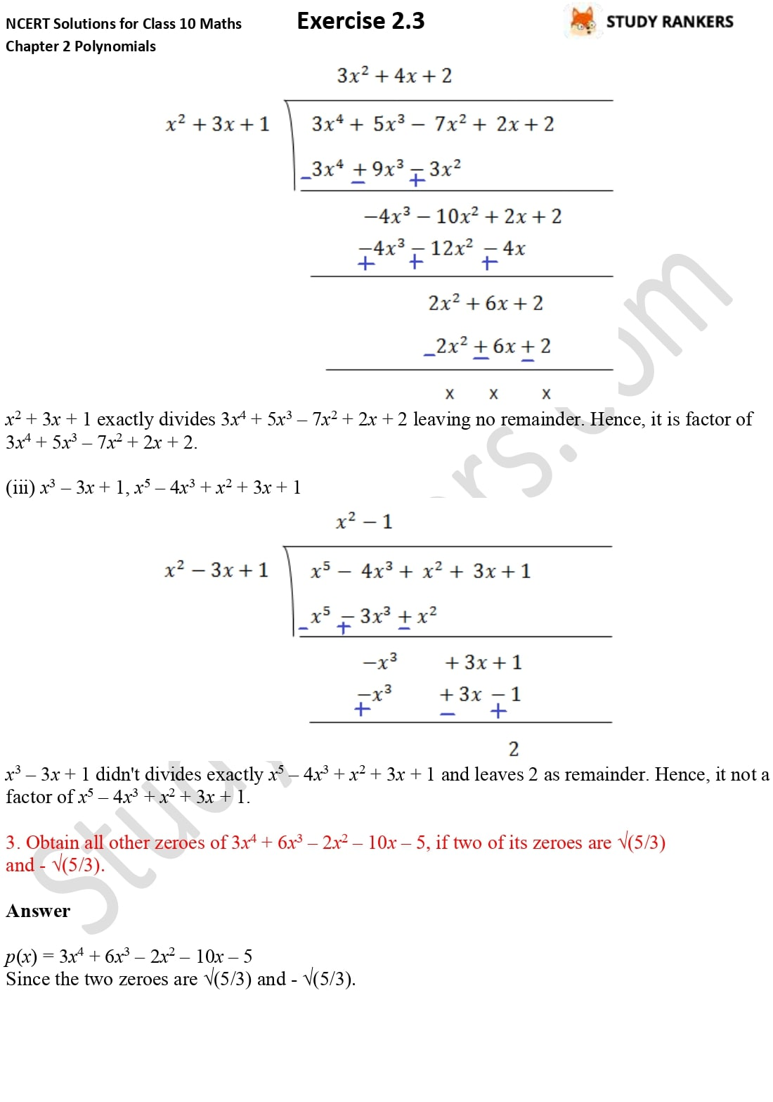 NCERT Solutions for Class 10 Maths Chapter 2 Polynomials Exercise 2.3 3