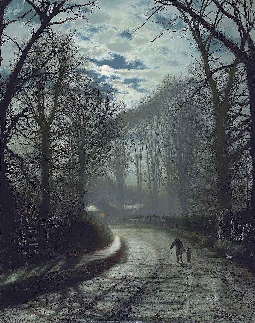 a John Atkinson Grimshaw painting of old and young walking