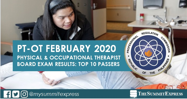 RESULT: February 2020 Physical, Occupational Therapist PT-OT board exam top 10 passers