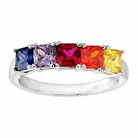 Created Ruby & Multi-Colored Cubic Zirconia Band Ring in Sterling Silver