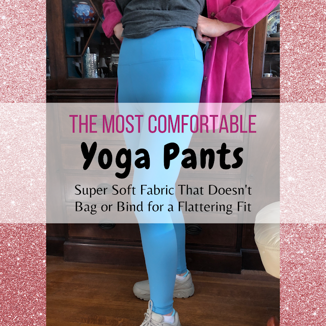 "Photo of IUGA yoga pants on model with superimposed text ""The Most Comfortable Yoga Pants Super Soft Fabric That Doesn't Bag or Bind for a Flattering Fit"