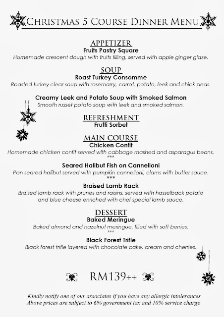 CHRISTMAS 5 COURSE DINNER MENU AT THE LIMESTONES FINE