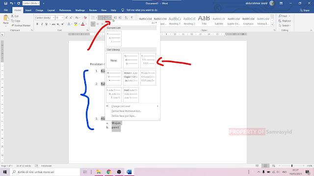 Cara Membuat Nomor Multilevel list di Microsoft Word