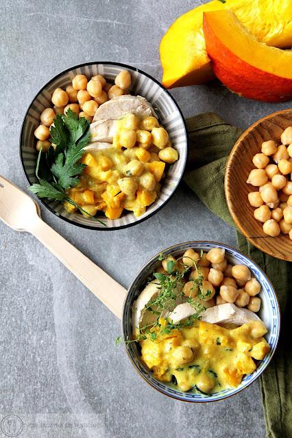 Curry z ciecierzycą, dynią i kurczakiem