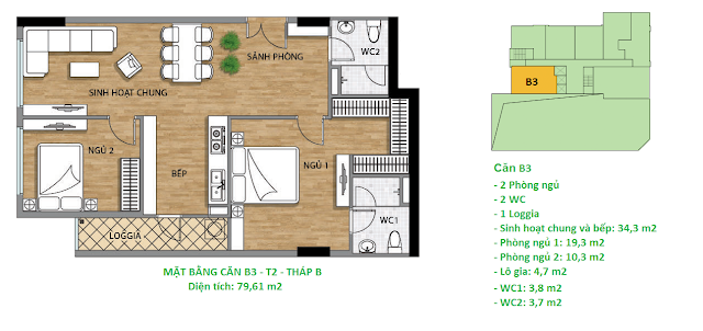 Căn hộ B3 diện tích 79,61 m2 tầng 2 Valencia Garden