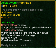 naruto castle defense 6.0 Item Aegis sword detail
