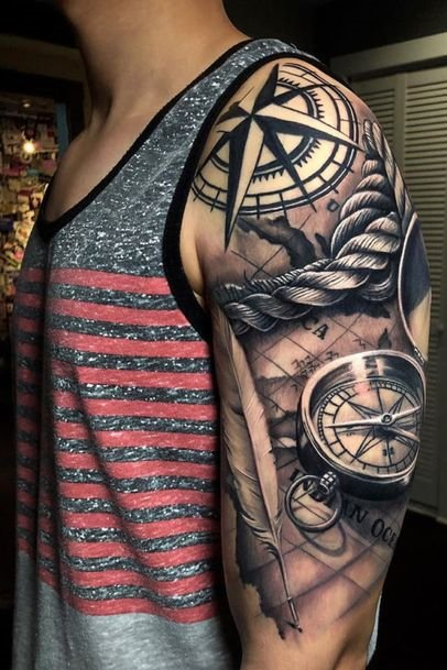 Compass Tattoo Designs on Shoulder