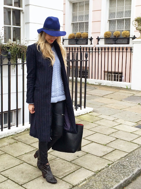 london strest style, boden boho boots, leather pants, zara leather pants, black tote, topshop blue hat, london blogger