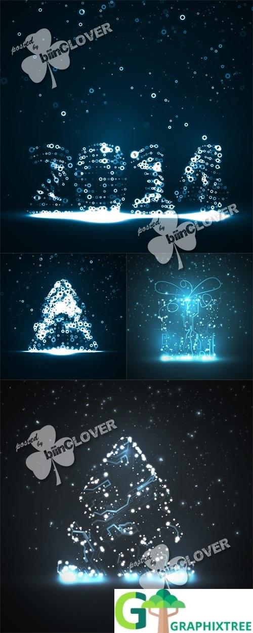 Vector New Year lights illustrations 0510