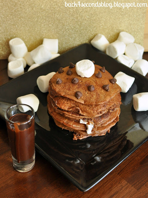 Chocolate Marshmallow Pancakes with Cocoa Maple Syrup #breakfast #pancakes #chocolate #marshmallow #maple
