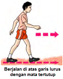 Gambar Latihan keseimbangan dengan Berjalan pada garis lurus dengan mata tertutup
