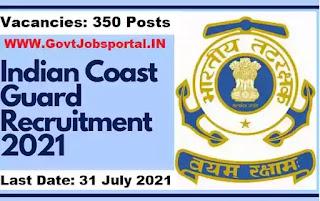Indian Coast Guard Recruitment for 350 Navik, Yantrik Posts 2021