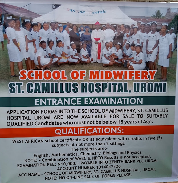 St. Camillus Hospital Uromi School of Midwifery Admission Form 2019/2020