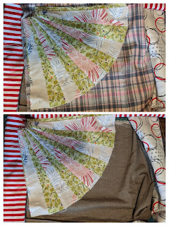 Red and white stripe for sashing is paired with brown shot cotton and a Burberry-style plaid for possible background to the fan arcs in the quilt