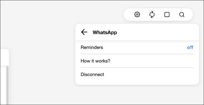 """انتقل إلى قائمة رمز الترس> عمليات التكامل> تذكيرات WhatsApp.  انقر فوق الزر """"إيقاف""""."""