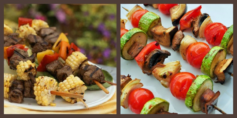 camp fire food. shish kebobs