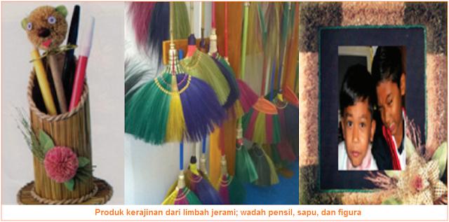 Produk kerajinan dari limbah jerami; wadah pensil, sapu, dan figura