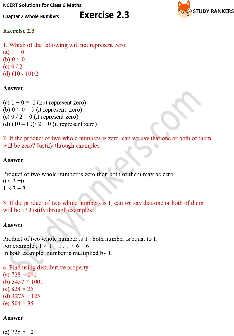 NCERT Solutions for Class 6 Maths Chapter 2 Whole Numbers Exercise 2.3 Part 1