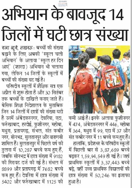 14 जिलों में घटी परिषदीय स्कूलों में छात्र संख्या