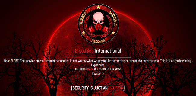 Websites of Globe Telecom Hacked by Group of Hacktivist named Blood Security Hackers