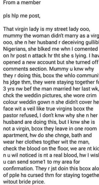 She is Lying, they have been living together for 3 years- Lady Exposes Newly-wed lady who claimed that she is a virgin