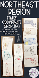 Northeast Region States Coordinate Graphing Mystery Picture BUNDLE