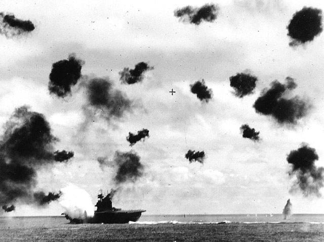 USS Yorktown hit during the Battle of Midway. 4 June 1942 worldwartwo.filminspector.com