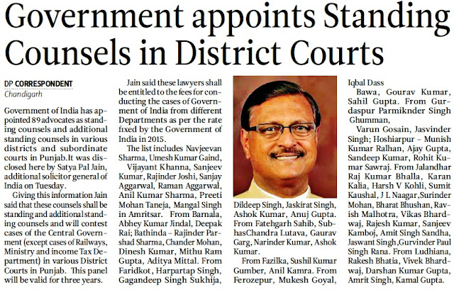 Government appoints Standing Counsels in District Courts
