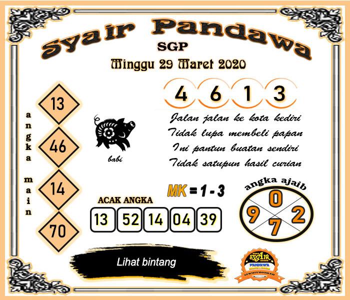 Bocoran Togel Singapura Minggu 29 Maret 2020 - Syair Pandawa SGP