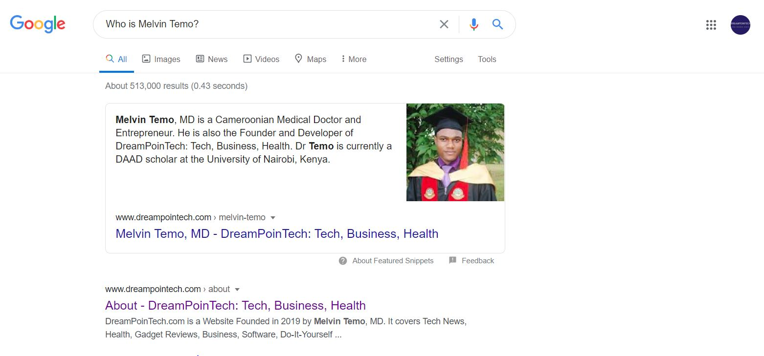 Featured Snippet Produced by Google for Melvin Temo, MD