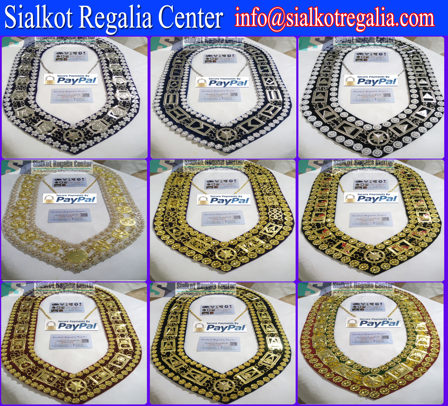 Masonic Collar GRAND LODGE METAL CHAIN DMR-100G Masonic Aprons & Regalia