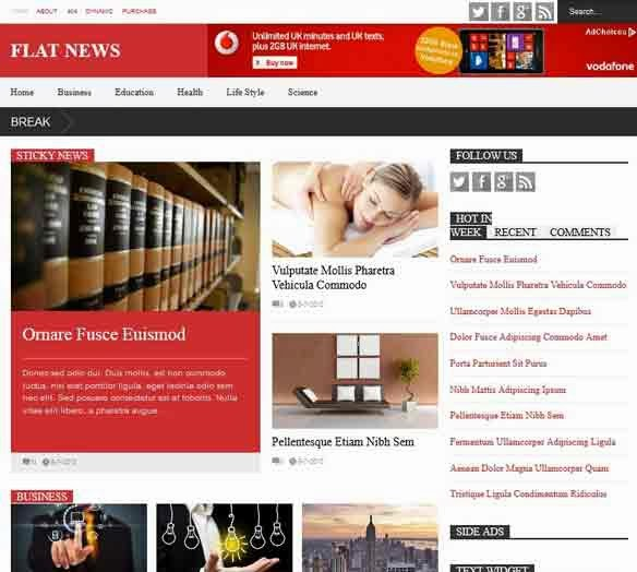 Flat News - Premium Blogger Template Responsive FREE